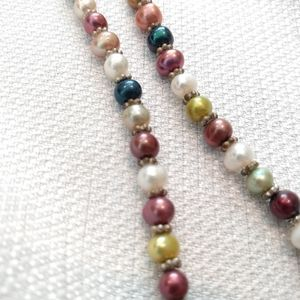 Multi Colored Pearl and Silver Necklace
